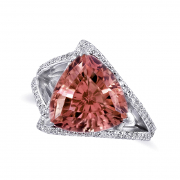 Natural Pink Tourmaline 6.56 carats set in 14K White Gold Ring with 0.52 Diamonds