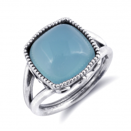 """""""Paraiba"""" color Agate 6.74 carats set in Silver Ring"""