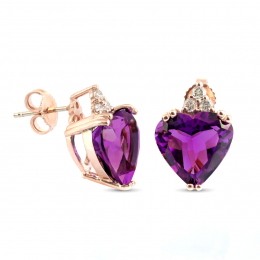 Natural Amethyst 7.65 carats set in 14K Rose Gold Earrings with 0.20 carats Diamonds