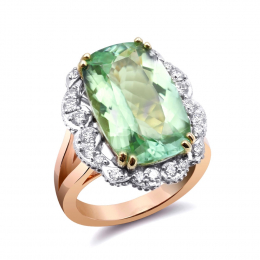 Natural Namibian Tourmaline 9.32 carats set in 14K Rose, White and Yellow Gold Ring with 0.57 carats Diamonds