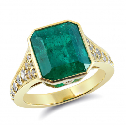 Natural Colombian Emerald 5.54 carats set in 18K Yellow Gold Ring with 0.67 carats Diamonds / GIA Report