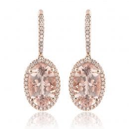 Natural Morganites 6.21 carats set in 14K Rose Gold Earrings with 0.31 carats Diamonds