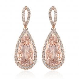Natural Morganites 8.40 carats set in 14K Rose Gold Earrings with 0.55 carats Diamonds