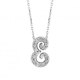 "Initial ""E"" Pendant with Diamonds 0.12 carats, 14K White Gold, 18"" Chain"