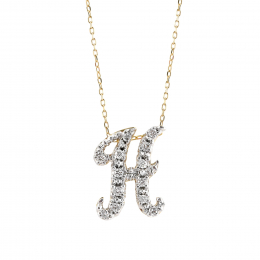 """Initial """"H"""" Pendant with Diamonds 0.15 carats, 14K White and Yellow Gold, 18"""" Chain"""