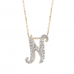 """Initial """"N"""" Pendant with Diamonds 0.13 carats, 14K White and Yellow Gold, 18"""" Chain"""