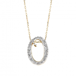 """Initial """"O"""" Pendant with Diamonds 0.13 carats, 14K White and Yellow Gold, 18"""" Chain"""