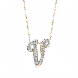 """Initial """"V"""" Pendant with Diamonds 0.13 carats, 14K White and Yellow Gold, 18"""" Chain"""