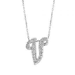 """Initial """"V"""" Pendant with Diamonds 0.13 carats, 14K White Gold, 18"""" Chain"""