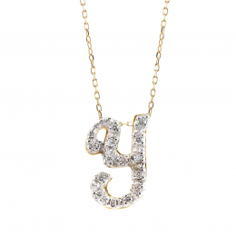 """Initial """"Y"""" Pendant with Diamonds 0.13 carats, 14K White and Yellow Gold, 18"""" Chain"""