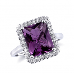 Natural Amethyst 3.30 carats set in 14K White Gold Ring with 0.24 carats Diamonds