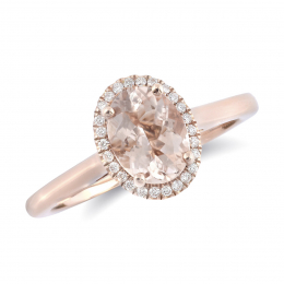 Natural Morganite 1.09 carats set in 14K Rose Gold Ring with 0.09 carats Diamonds
