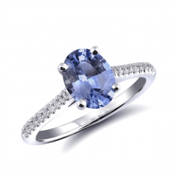 Natural Blue Sapphire 1.51 carats set in 14K White Gold Ring with 0.12 carats Diamonds