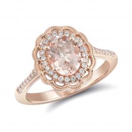 Natural Morganite 1.09 carats set in 14K Rose Gold Ring with 0.19 carats Diamonds