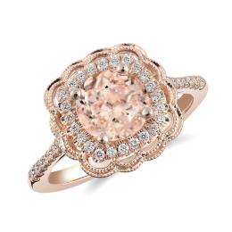 Natural Morganite 1.29 carats set in 14K Rose Gold Ring with 0.18 carats Diamonds