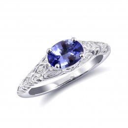 Natural Blue Sapphire 0.99 carats set in 14K White Gold Ring with 0.11 carats Diamonds