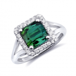 Natural Green Tourmaline 2.86 carats set in 14K White Gold Ring with 0.24 carats Diamonds