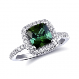 Natural Green Tourmaline 2.11 carats set in 14K White Gold Ring with 0.34 carats Diamonds