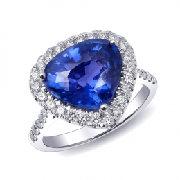 Natural Unheated Blue Sapphire 4.78 carats set in 18K White Gold Ring with 0.53 carats Diamonds  / GRS Report