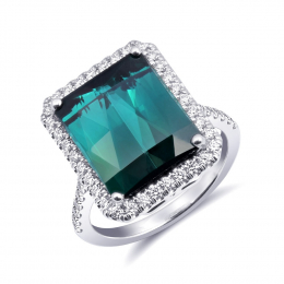 Natural Teal Blue-Green Tourmaline 8.19 carats set in 14K White Gold Ring with 0.46 carats Diamonds