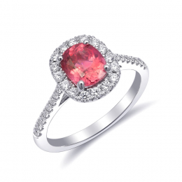 Natural Pink Spinel 1.28 carats set in 14K White Gold Ring with Diamonds
