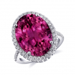 Natural Rubellite 10.71 carats set in 14K White Gold Ring with 0.54 carats Diamonds