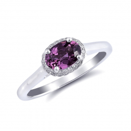 Natural Rhodolite Garnet 0.94 carats set in 14K White Gold Ring with 0.07 carats Diamonds