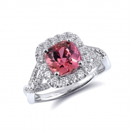 Natural Imperial Topaz 2.52 carats set in 14K White Gold Ring with 0.59 carats Diamonds