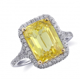 Natural Unheated Yellow Sapphire 7.02 carats set in 14K White and Yellow Gold with 0.38 carats Diamonds