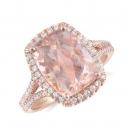 Natural Morganite 4.66 carats set in 14K Rose Gold Ring with 0.31 carats Diamonds