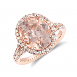 Natural Morganite 4.14 carats set in 14K Rose Gold Ring with 0.32 carats Diamonds