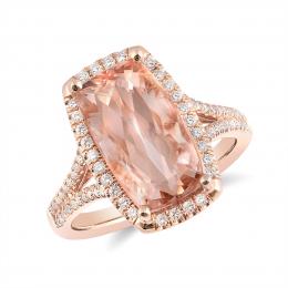 Natural Morganite 4.70 carats set in 14K Rose Gold Ring with 0.31 carats Diamonds