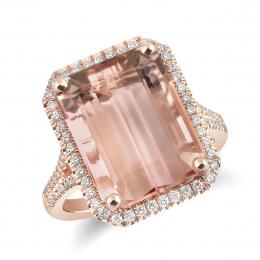 Natural Morganite 10.13 carats set in 14K Rose Gold Ring with 0.39 carats Diamonds