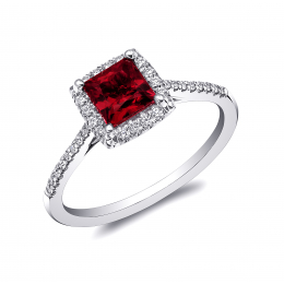 Natural Ruby 1.04 carats set in Platinum Ring with 0.14 carats Diamonds / GRS Report