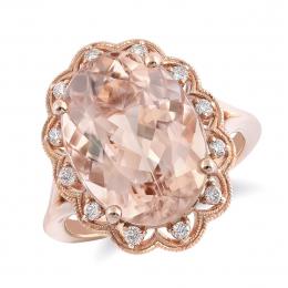 Natural Morganite 7.51 carats set in 14K Rose Gold Ring with 0.17 carats Diamonds
