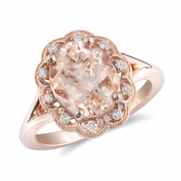 Natural Morganite 2.41 carats set in 14K Rose Gold Ring with 0.09 carats Diamonds