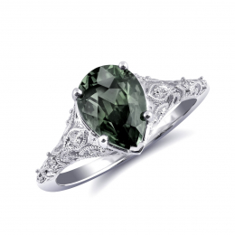 Natural Unheated Teal Green-Blue Sapphire 2.48 carats set in 14K White Gold Ring with 0.12 carats Diamonds / GIA Report