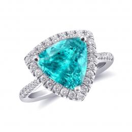 Natural Mozambique Paraiba Tourmaline 3.70 carats set in Platinum Ring with 0.38 carats Diamonds / GIA Report