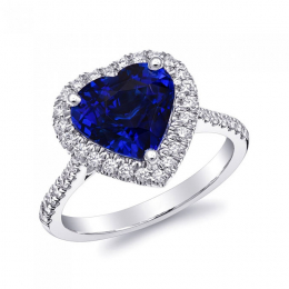 Natural Blue Sapphire 4.16 carats set in 18K White Gold Ring with 0.38 carats Diamonds / GIA Report