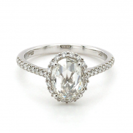 Natural Rose Cut Diamond 0.95 carats set in 18K White Gold Ring with 0.32 carats of Accent Diamonds / IGI Report