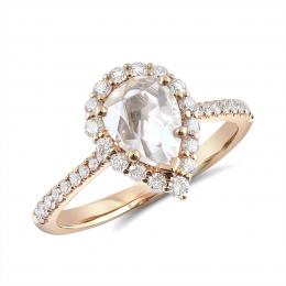 Natural Rose Cut Diamond 0.88 carats set in 18K Rose Gold Ring with 0.43 carats of Accent Diamonds / IGI Report
