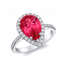 Natural Unheated Pink Spinel 4.22 carats set in Platinum Ring with 0.38 carats Diamonds / GRS Report