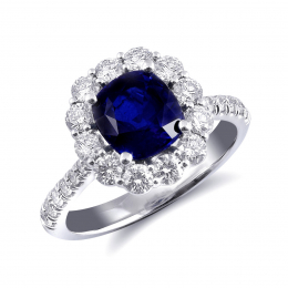 Natural Blue Sapphire 2.21 carats set in 14K White Gold Ring with 0.93 carats Diamonds / GIA Report