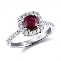 Natural Ruby 1.15 carats set in Platinum Ring with 0.40 carats Diamonds / GIA Report