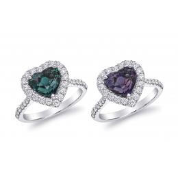 Natural Alexandrite 3.13 carats set in Platinum Ring with 0.48 carats Diamonds