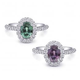 Natural Alexandrite 1.19 carats set in Platinum Ring with 0.44 Carats Diamonds / GIA Report