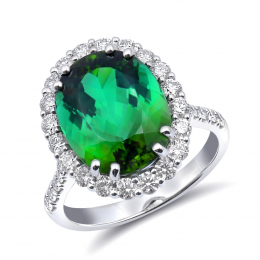 Natural Green Tourmaline 6.03 carats set in 18K White Gold Ring with 0.90 carats Diamonds