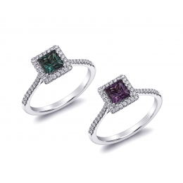 Natural Alexandrite 0.74 carats set in 18K White Gold Ring with 0.20 carats Diamonds / GIA Report