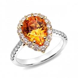 Natural Mandarin Garnet 3.82 carats set in 18K White and Yellow Gold Ring with 0.80 carats Diamonds