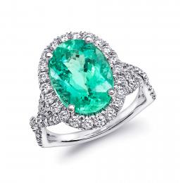 Extremely Rare Tourmaline Paraiba 5.20 carats set in Platinum Ring with 0.78 carats Diamonds / GIA Report